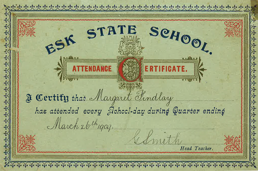 Attendance certificate from 1909